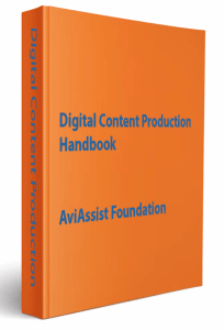 A orange book, with words in 'Digital Content Production Handbook AviAssist Foundation' in blue.