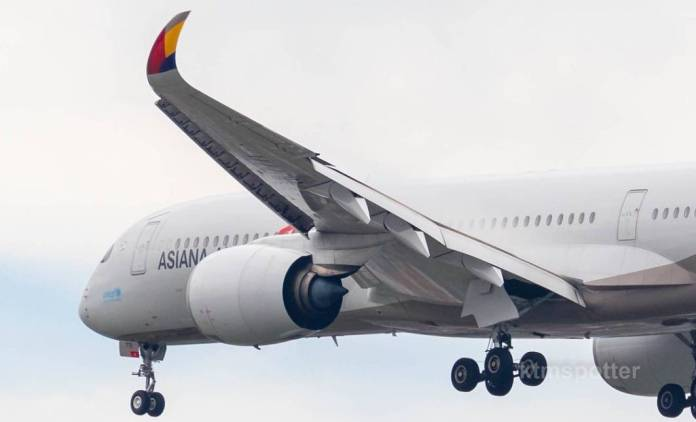 asiana a35 curved wings