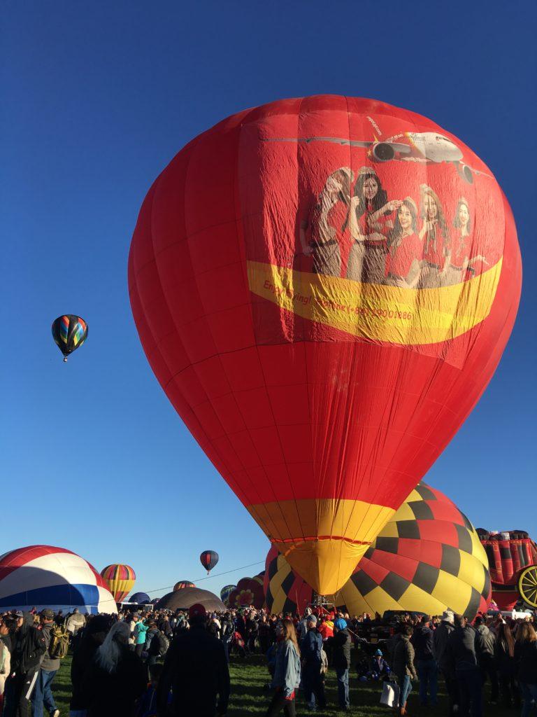 Beautiful young bikini flight attendants participate in Balloon Fiesta 3