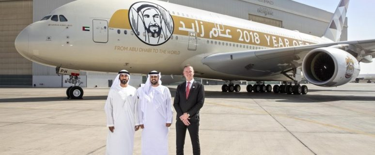 "Abu Dhabi Department of Transport Chairman inspects Etihad Airways' ""Year of Zayed"" A380 jet 6"