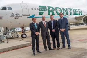 Xavier the Mountain Goat headed for Frontier Airlines