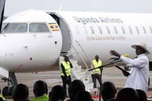 Water salute welcomes Uganda Airlines inaugural flight at Nairobi Airport