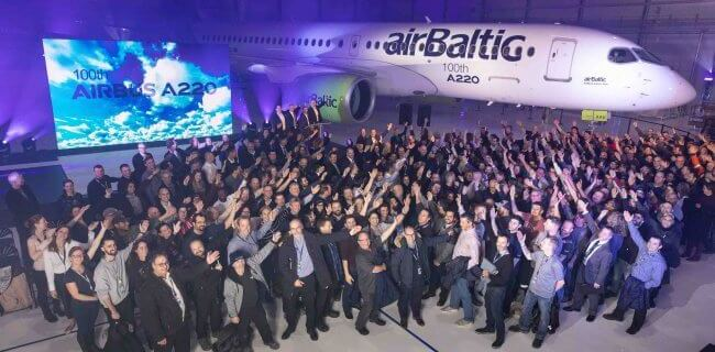 Airbus rolls out 100th A220 aircraft produced 4