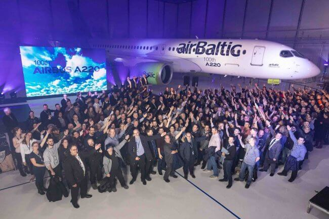 Airbus rolls out 100th A220 aircraft produced 1