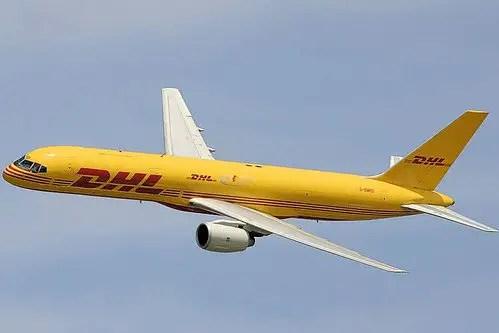 DHL Boeing 757 in flight