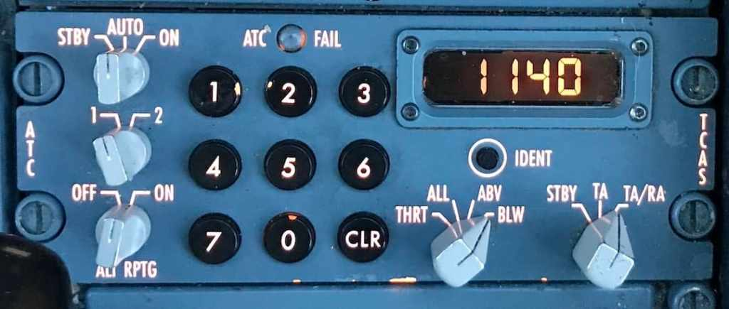 Airbus A330 transponder (txpdr) panel with TCAS controls.