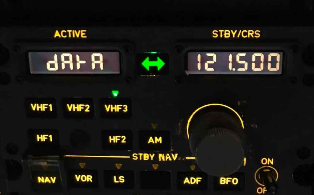 Radio Management Panel RMP showing data ACARS selection