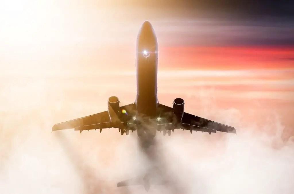 Twin engined jet landing in fog