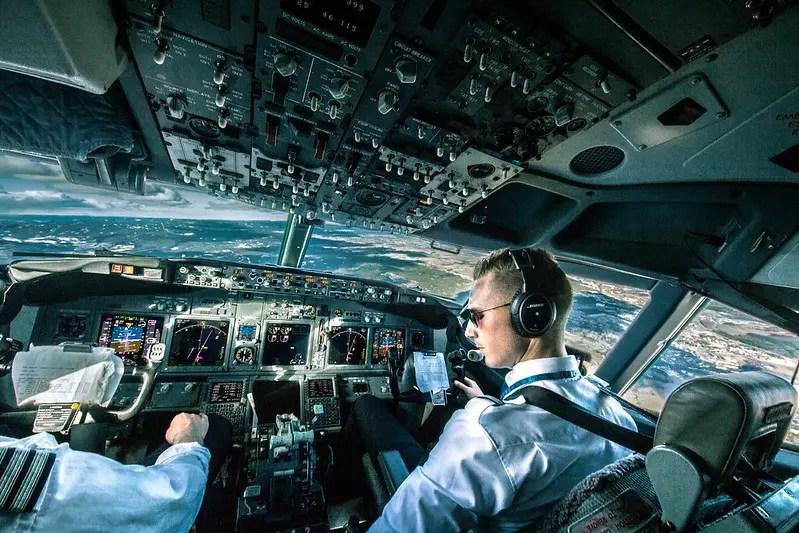 Aircraft cockpit/flight deck in flight.