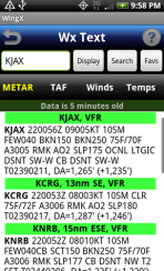 WingX weather - metar screen
