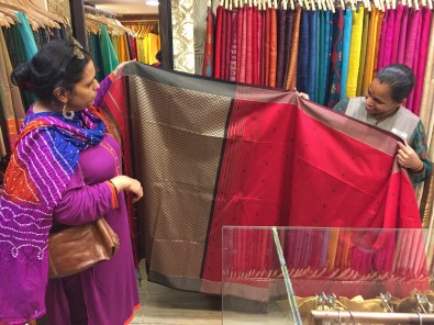 Shopping for saris