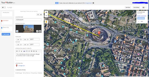 Google Tour Builder Screenshot