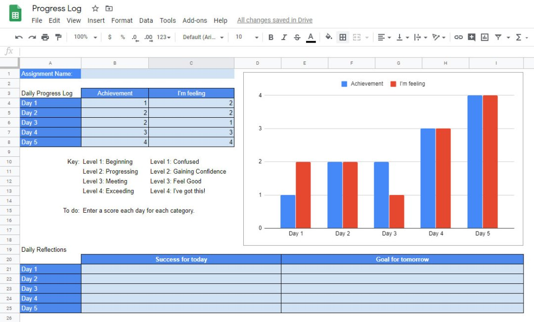 Sample interactive project progress tracking document
