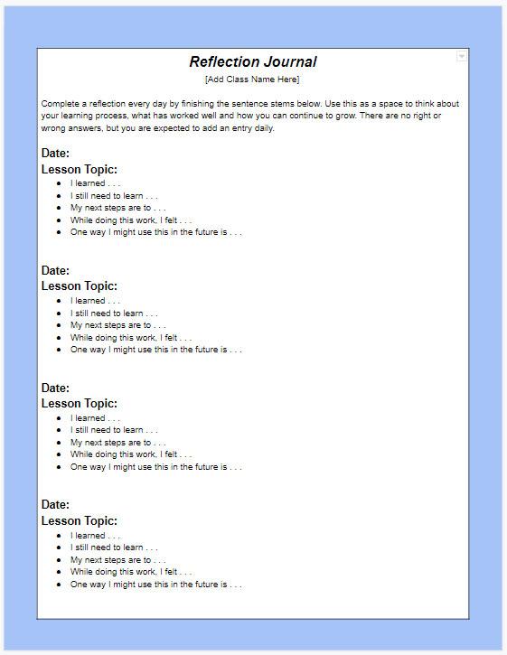 Sample reflection journal