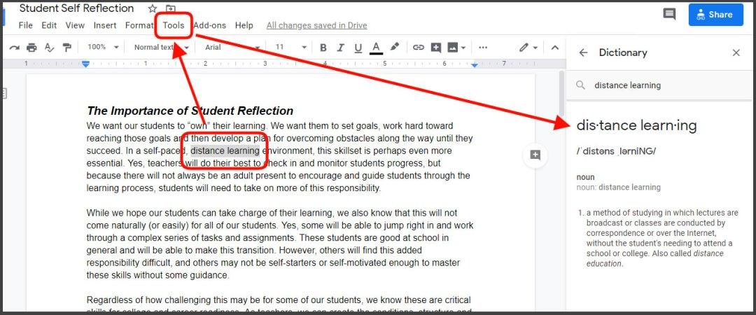 Define words in Google Docs
