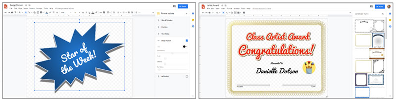 Stickers and certificates to honor students in an online classroom
