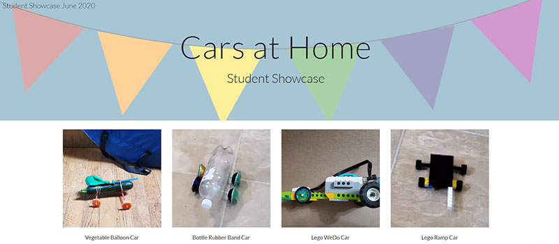 Showcase of students' work in an online classroom