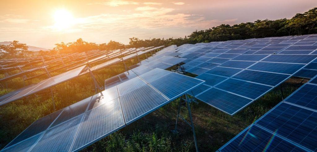 Sun powering a solar farm