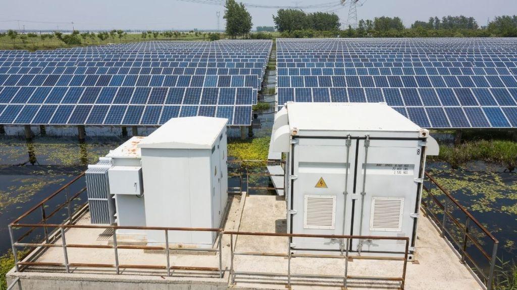 solar transformers powering a solar plant