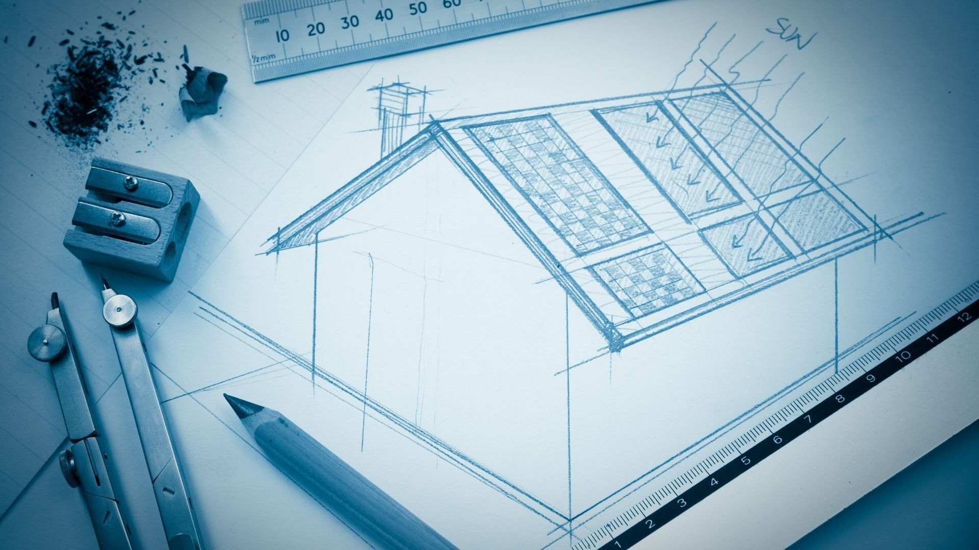 custom drawing of solar engineering design