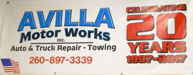 Avilla Motor Works 20 Years Banner