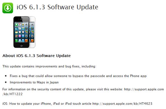 iOS 6.1.3 update