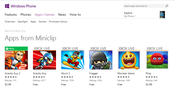 Miniclip Windows Phone Store