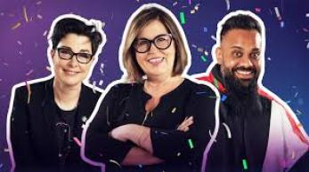 Liza Tarbuck host of Comedy Game Night with team captains Sue Perkins and Guz Khan