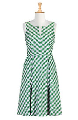 Retro style gingham check dress