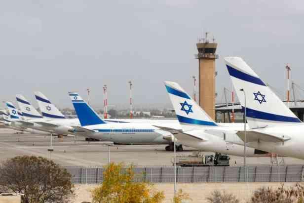 Aeropuerto de Tel Aviv, en Israel, con aviones de EL AL