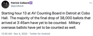 Former Michigan state senator Patrick Colbeck wrote that the total number of ballots dumped on the counting board totaled 38,000