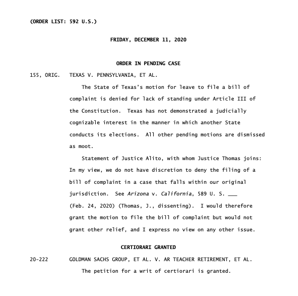 SCOTUS rejects Texas-led case