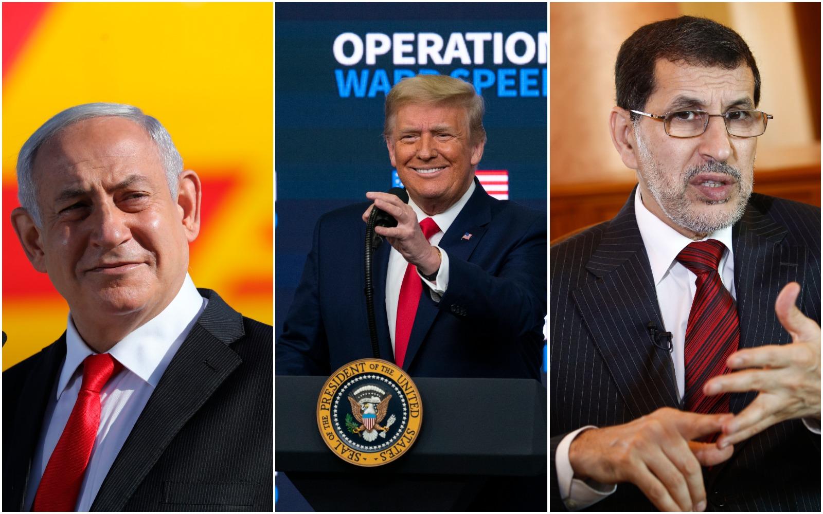 President Trump, Israeli Prime Minister Benjamin Netanyahu and Prime Minister of Morocco Saadeddine Othmani