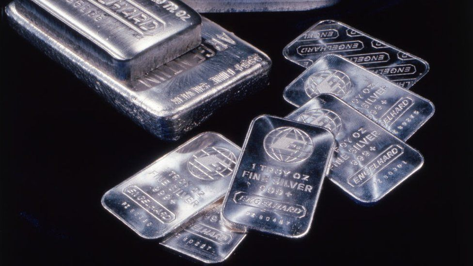 Silver in the form of bars
