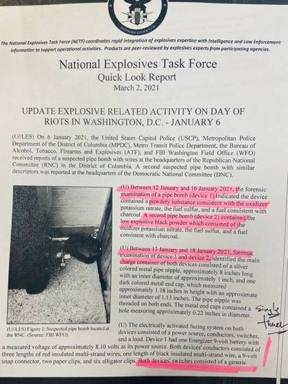 National Explosives Task Force Report of bombs found in DC on January 6, 2021 - Page 1