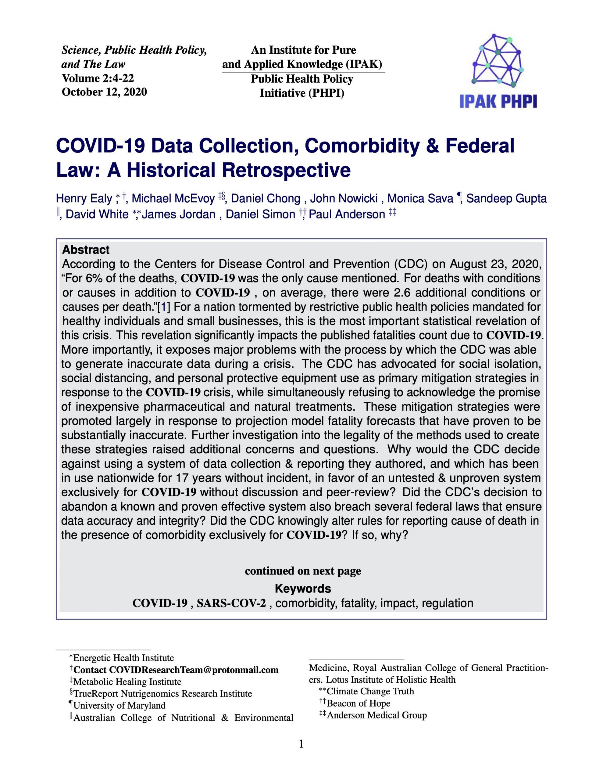 COVID-19 Data Collection, Comorbidity & Federal Law