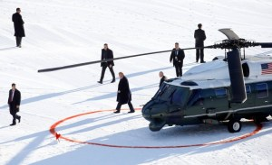 President Trump exiting Marine One at Davos in 2020. Marine One landed in a way to create a Q with the red landing circle.