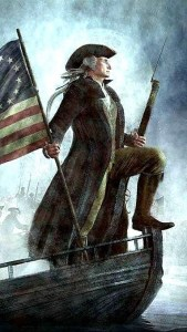 Patriot with musket and American flag standing proudly on the bow of a boat