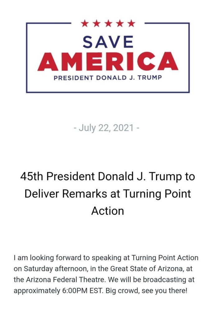 Statement from President Trump regarding his participation at the rally in Arizona