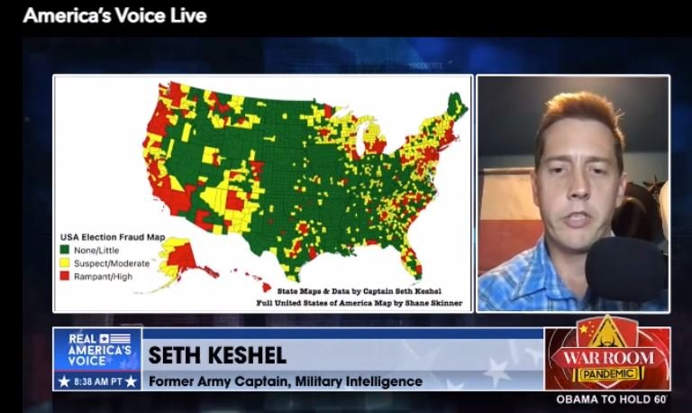 Seth Keshel with graphic showing election fraud