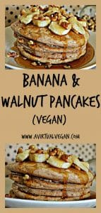 Healthier spelt pancakes topped with banana, toasted walnuts and a drizzle of maple syrup!