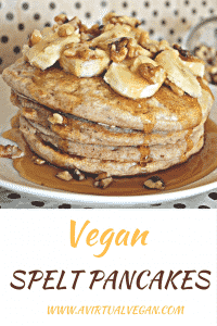 Healthier Vegan Spelt Pancakes. No eggs, no dairy. You can be vegan and eat fluffy pancakes!
