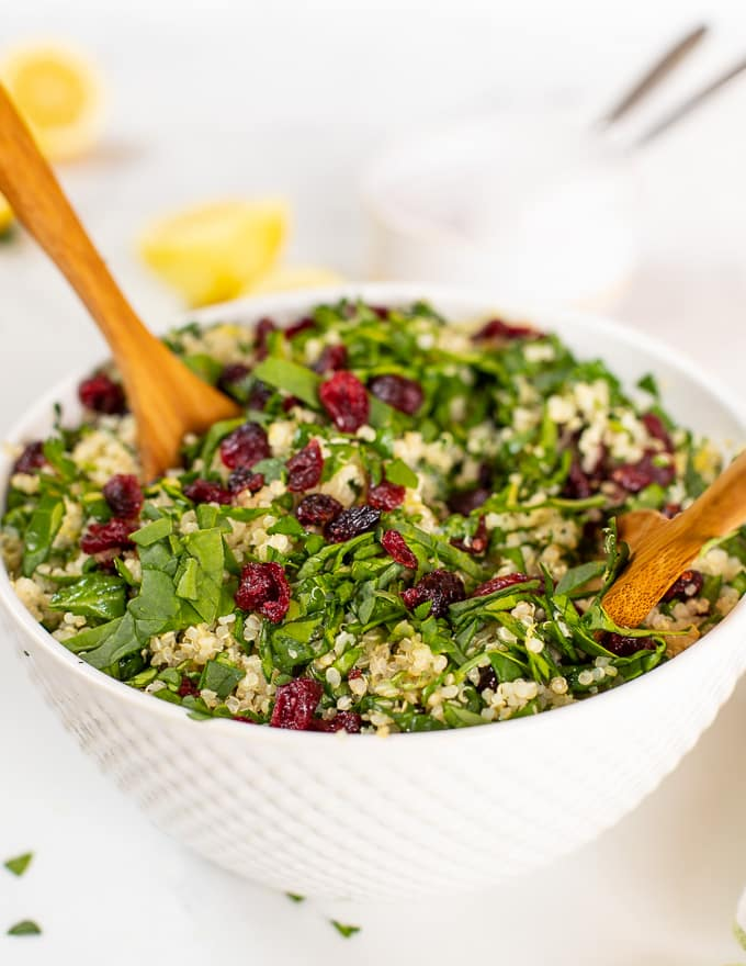 quinoa cranberry salad in large bowl
