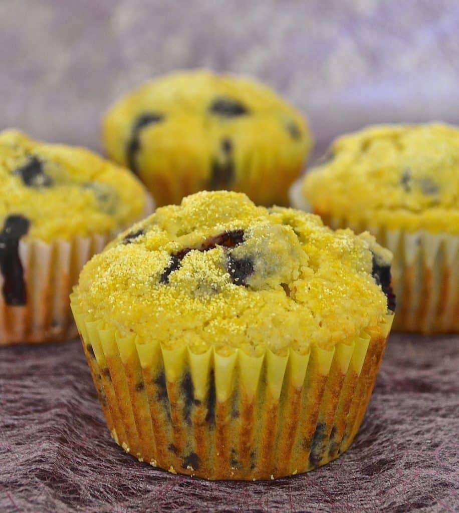 lemon & blueberry cornmeal muffins