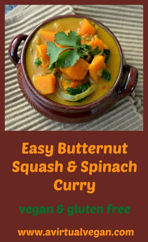 Soft, sweet butternut squash and spinach in a creamy curry sauce. Ready in only 30 minutes!