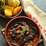Portobello Pot Roast with steamed vegetables and crispy roasted potatoes