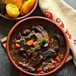 The ultimate one-pot family meal – Rich and hearty Vegan Portobello Pot Roast with red wine, herbs & vegetables. They all combine to make a delicious plant-based feast!