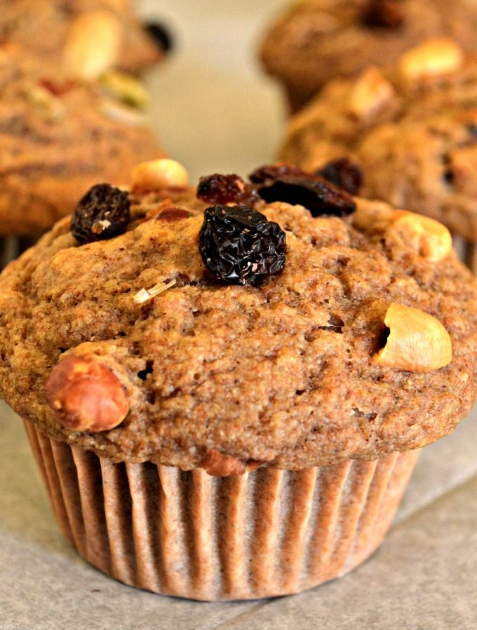 Tender spelt flour muffins interspersed with crunchy, chewy trail mix. Perfect for breakfast on the go or a healthy snack.