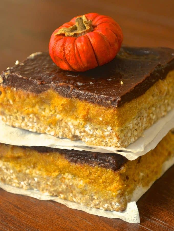 Pumpkin and chocolate are always a winning combination and these Pumpkin & Chocolate Squares are no exception! With creamy pumpkin and rich chocolate on a crunchy, crumbly base they are sure to satisfy those sweet cravings this Fall.