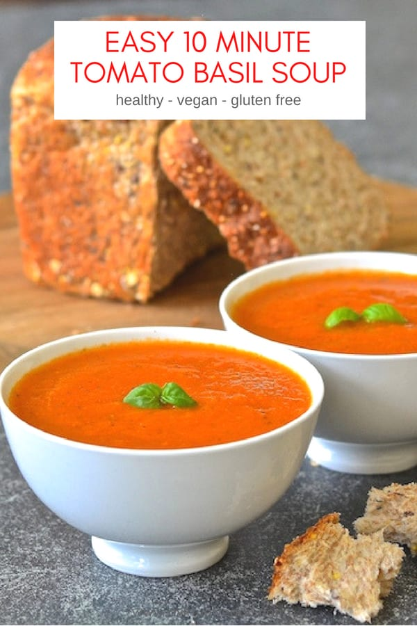 The easiest Tomato Basil Soup EVER and it's so fresh & vibrant. Made with just 4 ingredients (plus salt, pepper & optional olive oil) and it only takes 10 minutes to make!